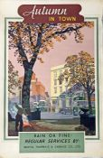1950s Bristol Tramways & Carriage Company double-crown POSTER 'Autumn in Town' by Frederick Donald