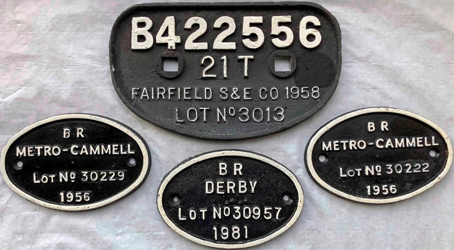 Selection (4) of 1950s British Railways cast-iron WAGON PLATES comprising a larger type 'Fairfield S