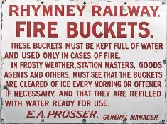 Rymney Railway ENAMEL SIGN 'FIRE BUCKETS'. Founded in 1858, the Rymney Railway was absorbed into the