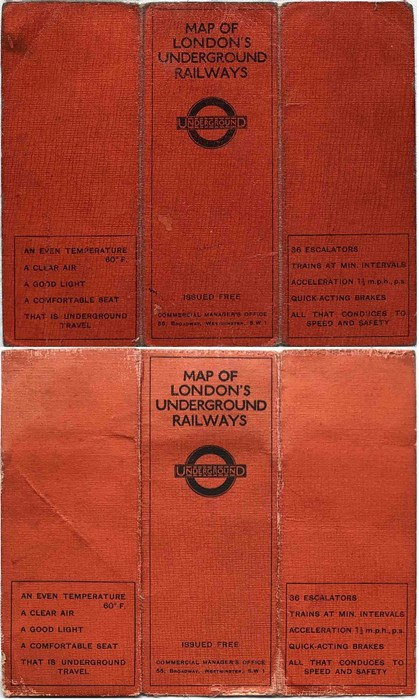 Pair of 1925 London Underground linen-card POCKET MAPS from the Stingemore-designed series of 1925- - Image 2 of 2