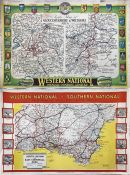 Pair of 1930s/50s Western National & Southern National POSTER ROUTE MAPS, the first a 1930s