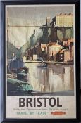 1952 British Railways (Western Region) double-royal POSTER 'Bristol - Travel by Train' by Claude