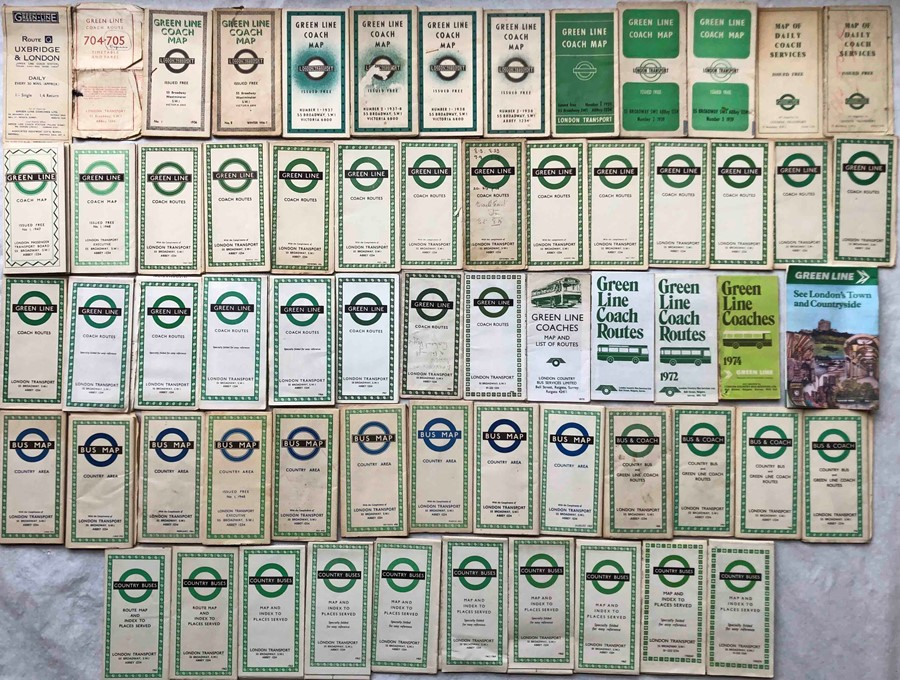 Quantity (60+) of London Transport 1930s-1970s POCKET MAPS of Green Line Coaches and Country Area