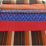 3 sections of Railway & London Tube SEAT MOQUETTE comprising c.1 metre of Bakerloo Line 72 Tube