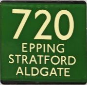 London Transport coach stop enamel E-PLATE for Green Line route 720 destinated Epping, Stratford,