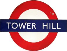 1960s London Underground enamel PLATFORM BULLSEYE SIGN from Tower Hill Station on the District &