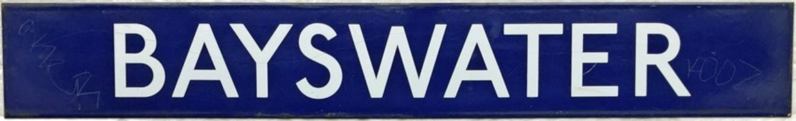 London Underground enamel PLATFORM SIGN from Bayswater Station on the District & Circle lines. The