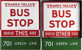 Thames Valley Traction Company enamel BUS STOP FLAG with additional London Transport ENAMEL PLATE