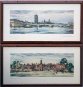 Pair of railway CARRIAGE PRINTS from the LNER post-war series comprising 'London, Lambeth Bridge'