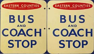 1950s/60s Eastern Counties Omnibus Company Ltd enamel BUS AND COACH STOP FLAG. A double-sided sign