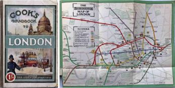 1911 Cook's HANDBOOK TO LONDON with official LONDON UNDERGROUND MAP. 232pp hard-cover book with