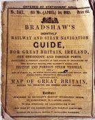 """April 1845 Bradshaw's RAILWAY AND STEAM NAVIGATION GUIDE. In paper covers size 4.75"""" x 6"""" (12 x 15.5"""