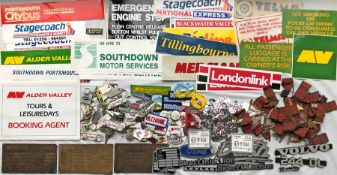 Large quantity of varied, mostly 1960s-80s BUS EPHEMERA incl VINYL STICKERS from various