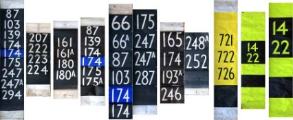 Selection (9) of London Transport DESTINATION BLINDS, all are number blinds, mostly 1960s-70s, a