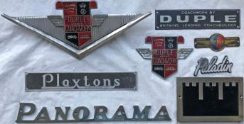 Selection (8) of 1950s onwards COACH MANUFACTURERS' PLATES, all are for either Duple or Plaxton.