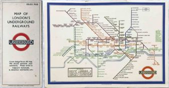 1933 first edition of the H.C. Beck London Underground diagrammatic card POCKET MAP with the