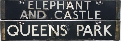 London Underground Standard or 1938 Tube Stock enamel DESTINATION PLATE for Elephant & Castle/Queens