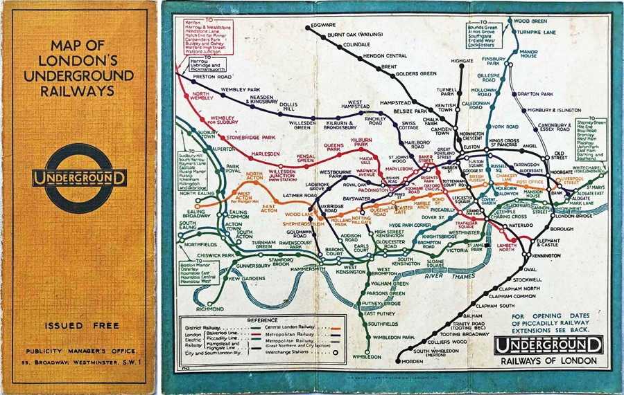 1932 London Underground linen-card POCKET MAP from the Stingemore-designed series of 1925-32. This