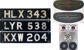 Collection of London bus items comprising 3 x RT FRONT REGISTRATION PLATES (HLX 343/RT 526, KXW