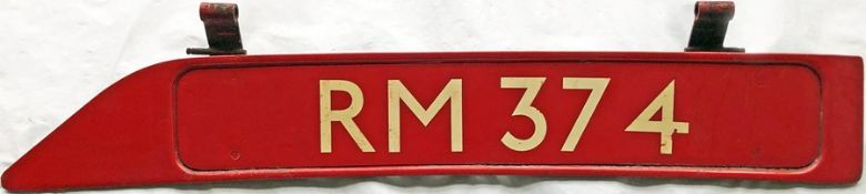 London Transport Routemaster bonnet FLEETNUMBER PLATE from RM 374. RM 374 entered service at