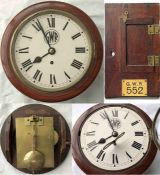 """Great Western Railway (GWR) 8"""" dial CLOCK in mahogany case with side and bottom opening doors."""