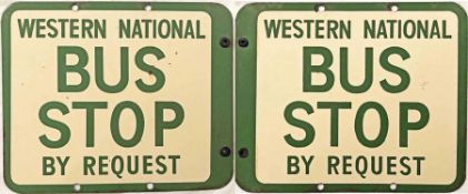 Western National enamel BUS STOP FLAG. A 1950s/60s double-sided sign in cream and green enamel.