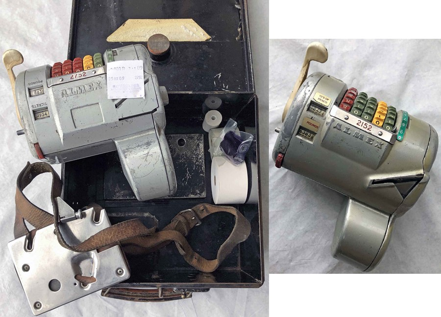 Pair of Almex 'A' TICKET MACHINES, the first is casing no 2752, s/n 250047, prints ticket for '