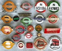 Quantity (23) of 1950s-70s (mainly) London Transport UNIFORM BADGES etc from the Underground,