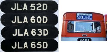 Selection (4) of London Transport rear REGISTRATION PLATES from the 1966 XMS/XMB-class AEC 'Merlins'