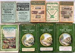 Selection (9) of 1920s-60s Southdown Motor Services TIMETABLE BOOKLETS comprising August 1924,