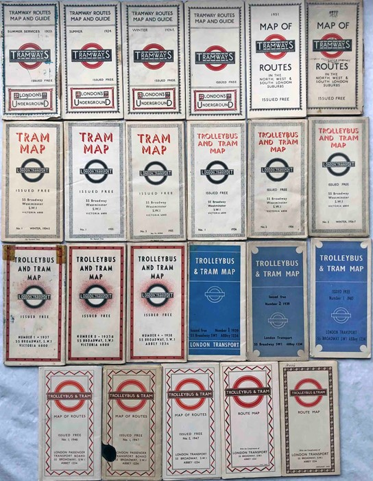 Quantity (23) of 1920s-1950 Underground Group Tramways and London Transport POCKET MAPS for Trams