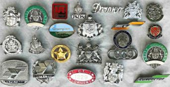 Quantity (22) of 1950s-70s bus UNIFORM BADGES (driver, conductor, inspector etc) from a wide range