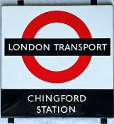 1950s/60s London Transport enamel BUS STOP SIGN 'Chingford Station' from a 'Keston' wooden bus