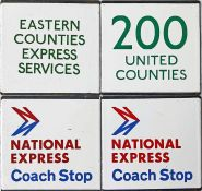 Selection (4) of London Transport bus/coach stop enamel E-PLATES comprising Eastern Counties Express