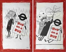 Pair of 1958 London Transport double-royal POSTERS from the 'Hop on a Bus' series by Lobban. These