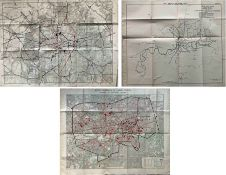Selection (3) of 1905 London RAILWAY & TRAMWAY MAPS produced for the Royal Commission on London