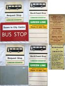 Selection (5) of bus etc SIGNAGE comprising 2 different 1970s London Country Buses perspex double-
