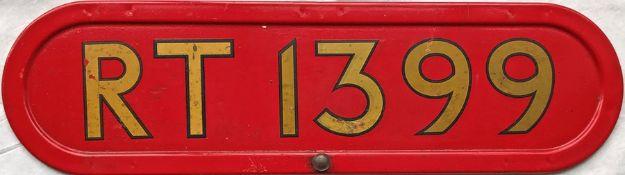 London Transport RT bus BONNET FLEETNUMBER PLATE from RT 1399. The original RT 1399, a Saunders '