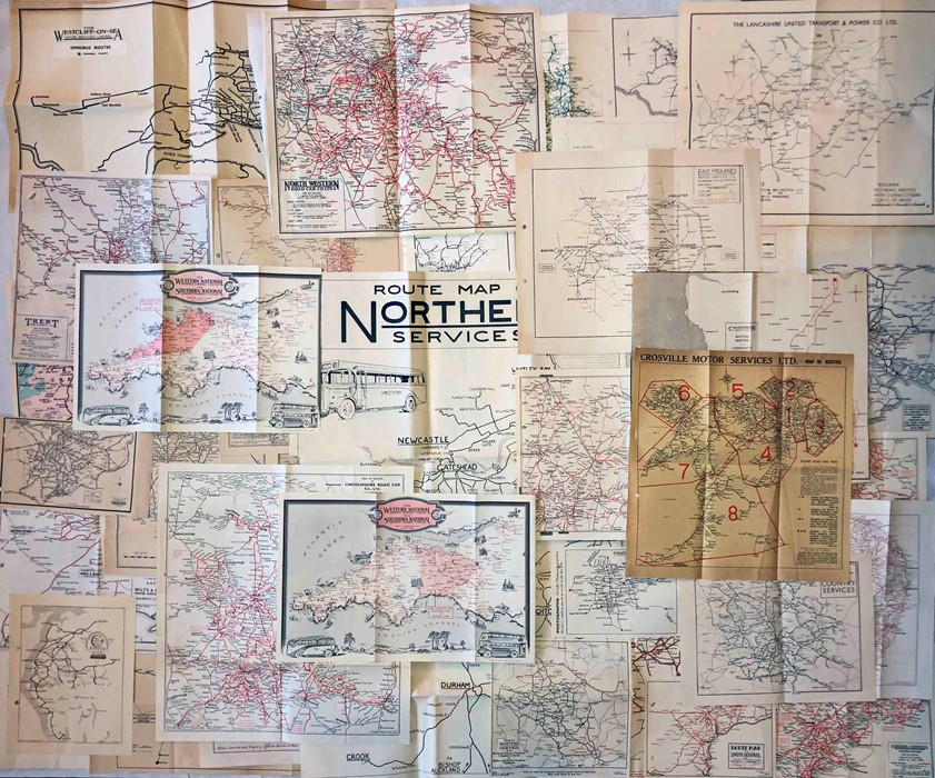 Collection (43) of 1930s/40s fold-out BUS ROUTE MAPS from operators across the UK. Ex-the