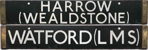 London Underground 38-Stock enamel DESTINATION PLATE for Harrow (Wealdstone)/Watford (LMS) on the