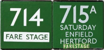 Pair of London Transport/London Country coach stop enamel E-PLATES for Green Line routes 714 'Fare