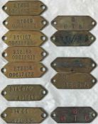 Selection (12) of London Transport brass VEHICLE TAGS, mainly RT/RTL/RTW, and comprising tags for