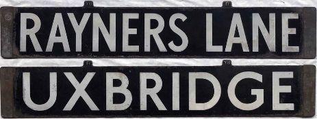 London Underground enamel CAB DESTINATION PLATE for Rayners Lane/Uxbridge on either the Piccadilly