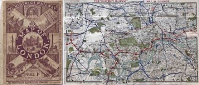 """The """"District Railway MAP of London', 6th edition, circa 1903. The 3rd issue of this edition. An"""