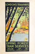 c1925-30 London's Tramways (LCC Tramways) double-crown POSTER 'Epping Forest Tram Services' by