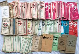 Large quantity (approx 150) of 1930s-70s London Transport POCKET MAPS, GREEN LINE ROUTE TIMETABLE