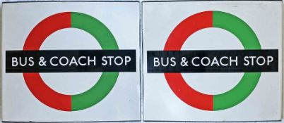 1950s/60s London Transport enamel BUS & COACH STOP FLAG (Compulsory). A double-sided, hollow '