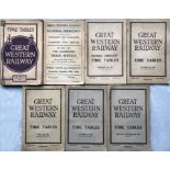 Selection (7) of Great Western Railway large TIMETABLE BOOKLETS comprising Jul-Sep 1925 (with fold-