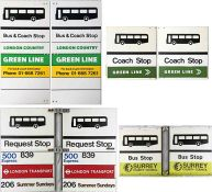 Selection (4) of 1970s/80s BUS STOP FLAGS comprising London Country, Green Line, Essex CC (incl