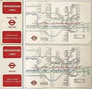 Pair of WW2 London Underground diagrammatic, card POCKET MAPS by Henry Beck and comprising issues No
